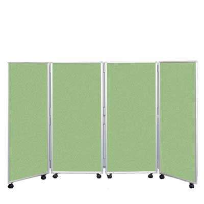 4 Panel 1200mm High Concertina Folding Screen In Fern fabric
