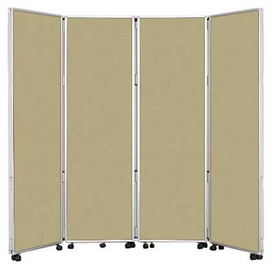 4 Panel 1500mm High Concertina Folding Screen In Stone fabric