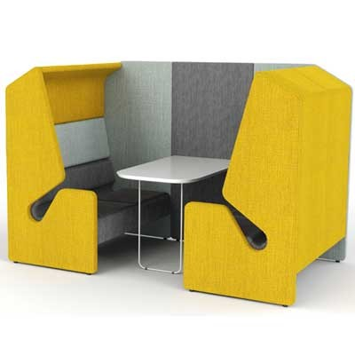 Clip Four Person Work Booth with Table