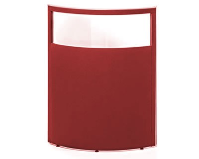 Top Glazed Curved Office Screen 2100mm High