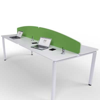 Flite Curved Desk Mounted Office Screen with PVC trim 480mm High