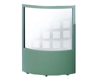 1/2 Glazed Curved Office Screen 1800mm High