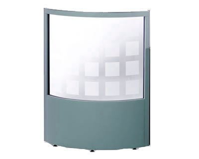 1/2 Glazed Curved Office Screen 1400mm High