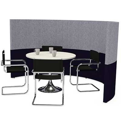 Semi Circular Four Person Team Meeting Pod