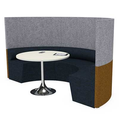 Semi Circular Four Person Team Meeting Pod with Seating