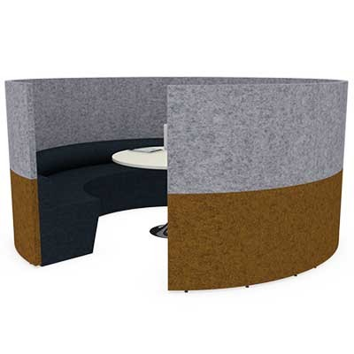 Round Six Person 3000mm wide Team Meeting Pod with Seating