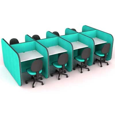 Low Back to Back 8 Person Study Booth