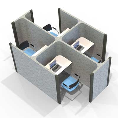 4 Pod Acoustic Work Booths
