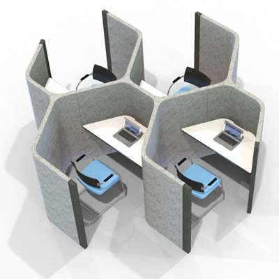 Hexagonal Honeycomb style 4 Person Work Booths