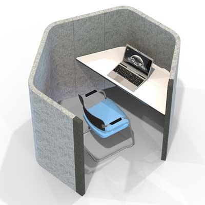 Acoustic large heaxagonal work booth