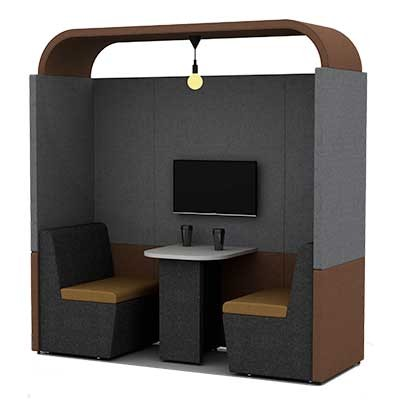 Two Person Work Booth 800mm Deep with Arch Roof
