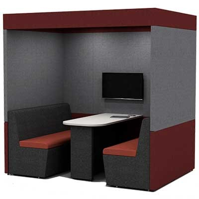 Four Person Work Booth 1500mm Deep with Roof