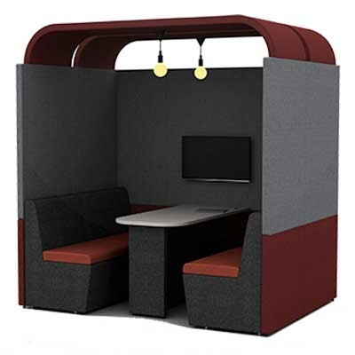 Four Person Work Booth 1500mm Deep with Arch Roof