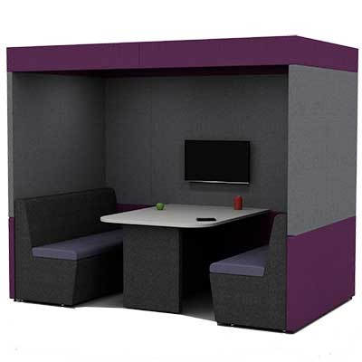 Four Person Work Booth 2500mm Wide with Roof