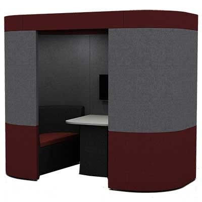 Two Person Curved Work Booth with Roof