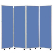 4 Panel 1500mm High Concertina Folding Screen In Ice fabric