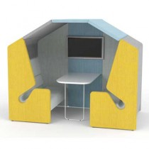 Clip Four Person Work Booth with Roof and Table