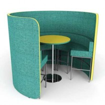 Cocoon High Open Meeting Pod with Seating and Table