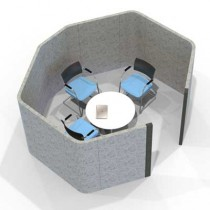 Acoustic Four Person Hexagonal Meeting Pod