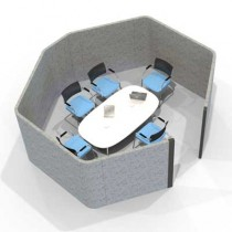 Acoustic Six Person Hexagonal Meeting Pod
