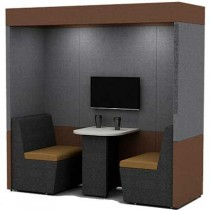 Two Person Work Booth 800mm Deep with Roof