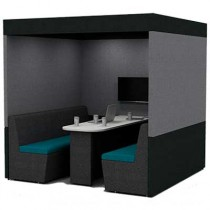 Six Person Work Booth 2000mm Deep with Roof