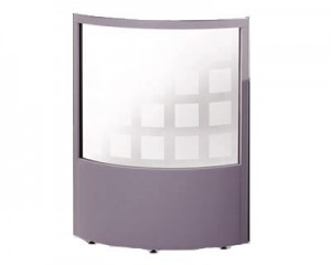 1/2 Glazed Curved Office Screen 2100mm High