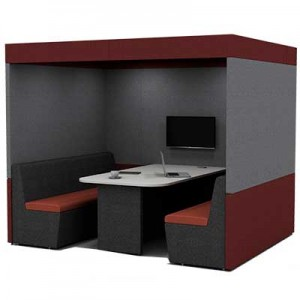 Six Person Work Booth 2500mm Wide with Roof