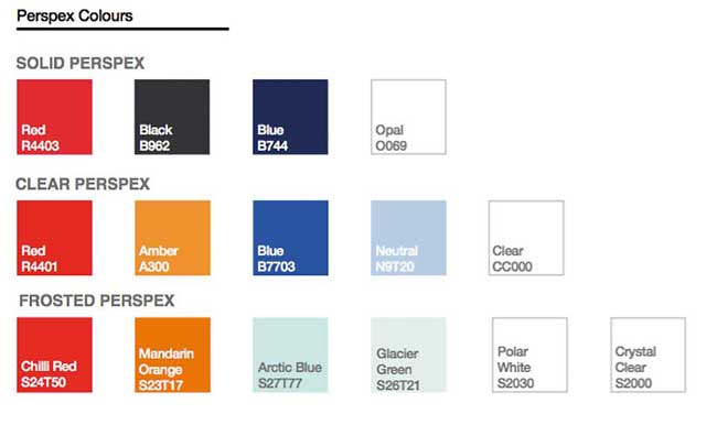Acrylic Desktop office screen colour chart
