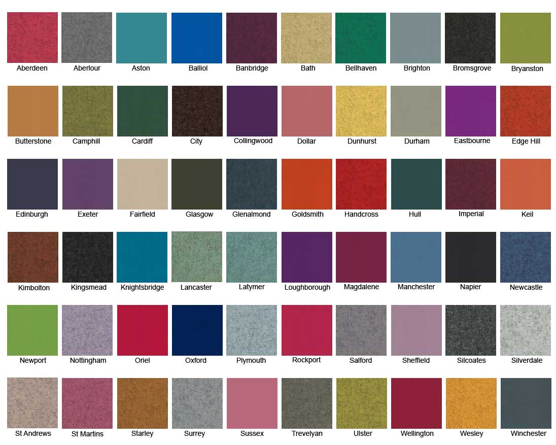 Camira Blazer screen colour chart