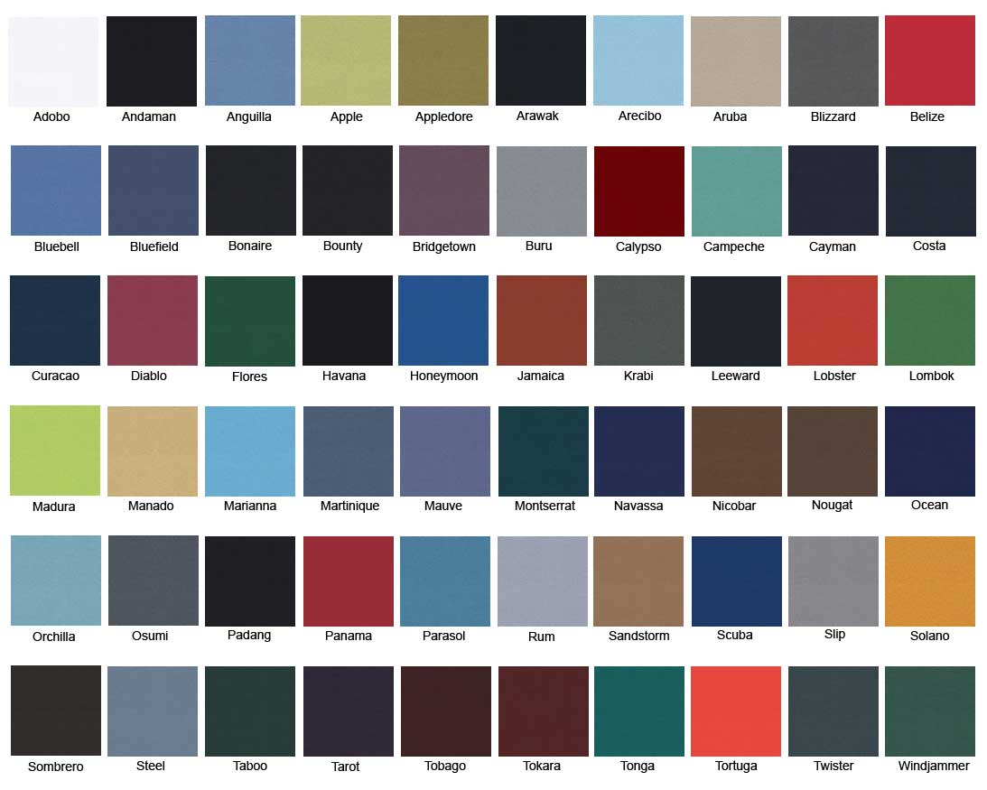 Camira Xtreme Fabric colour chart