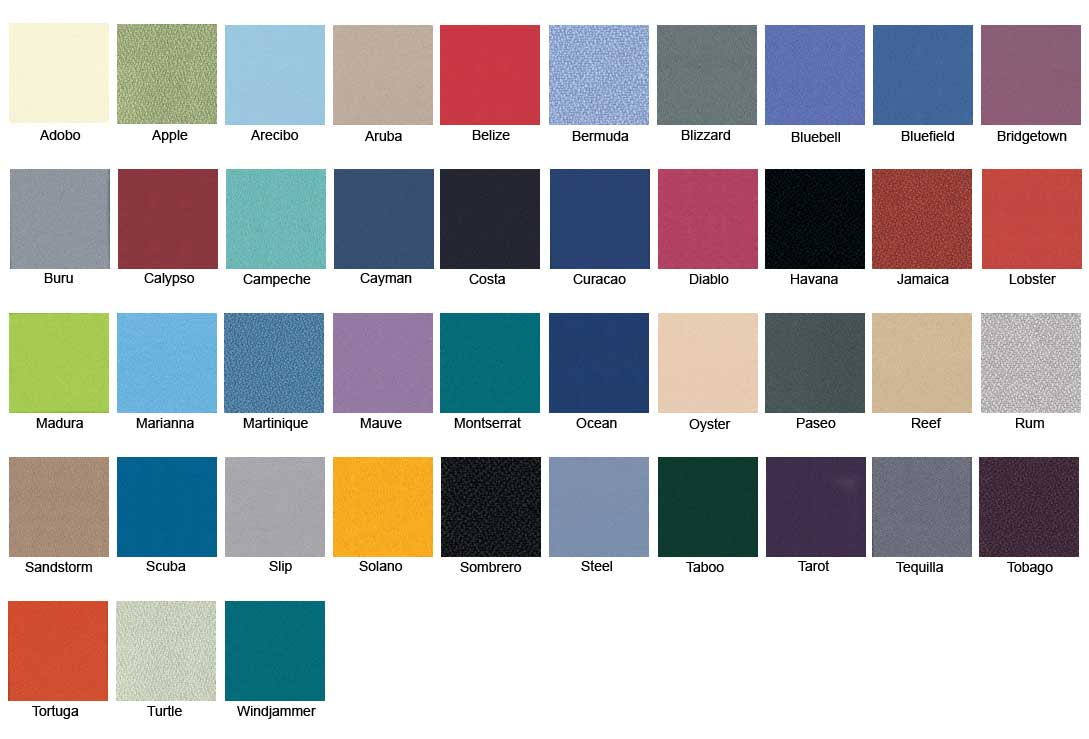 Study Booths Lucia Colour Chart
