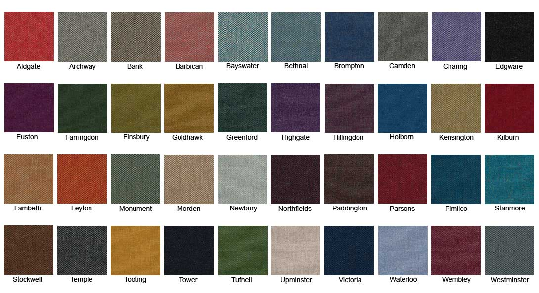 Camira Mainline Flax Colour Chart for Studio Booth Seating